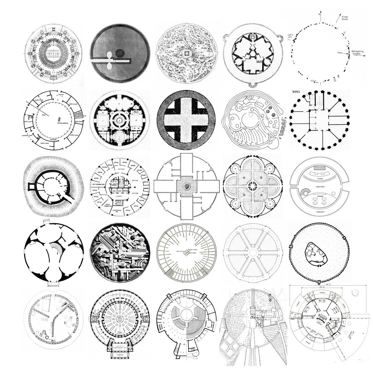 25 Circle Plans From Left To Right Pier Luigi Nervi
