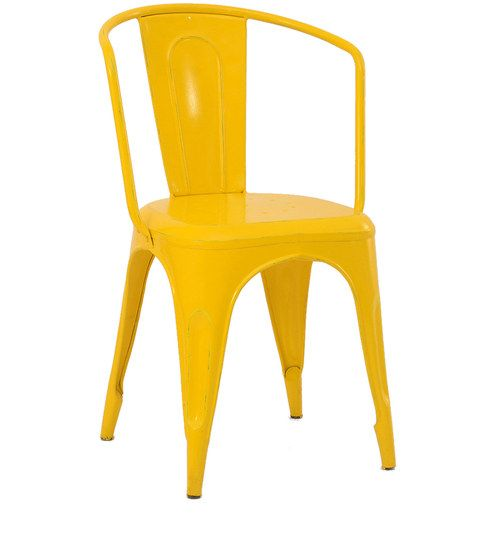 Enjoyable Wide Back Metal Chair In Yellow Colour By The Yellow Door Caraccident5 Cool Chair Designs And Ideas Caraccident5Info