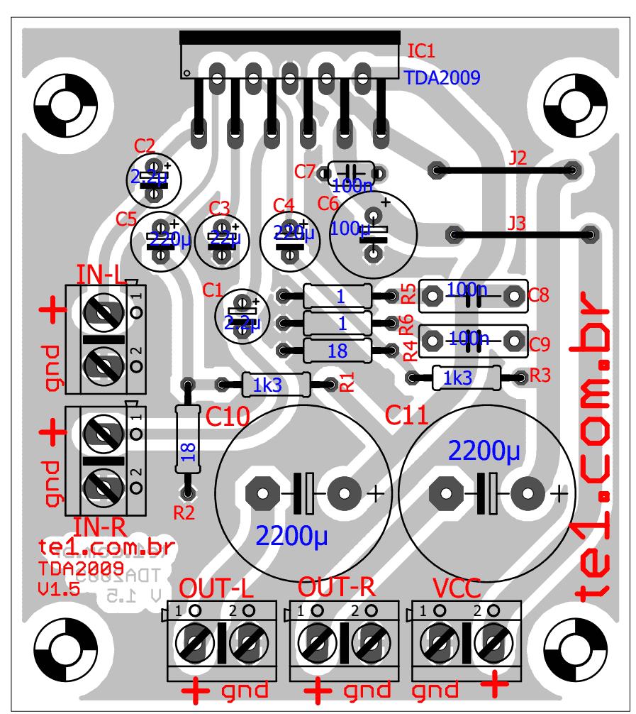 Tda2009 Stereo Amplifier Pcb Layout 700x785 Circuito De Amplificador Circuit Diagram For 32w Hifi Audio Power Potncia Estreo Com 2x 10w Tda Circuitos Udio