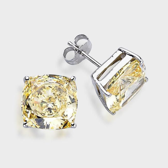 16f2ce412 14K Solid White Gold Princess Square Canary yellow CZ Stud Earrings Basket .