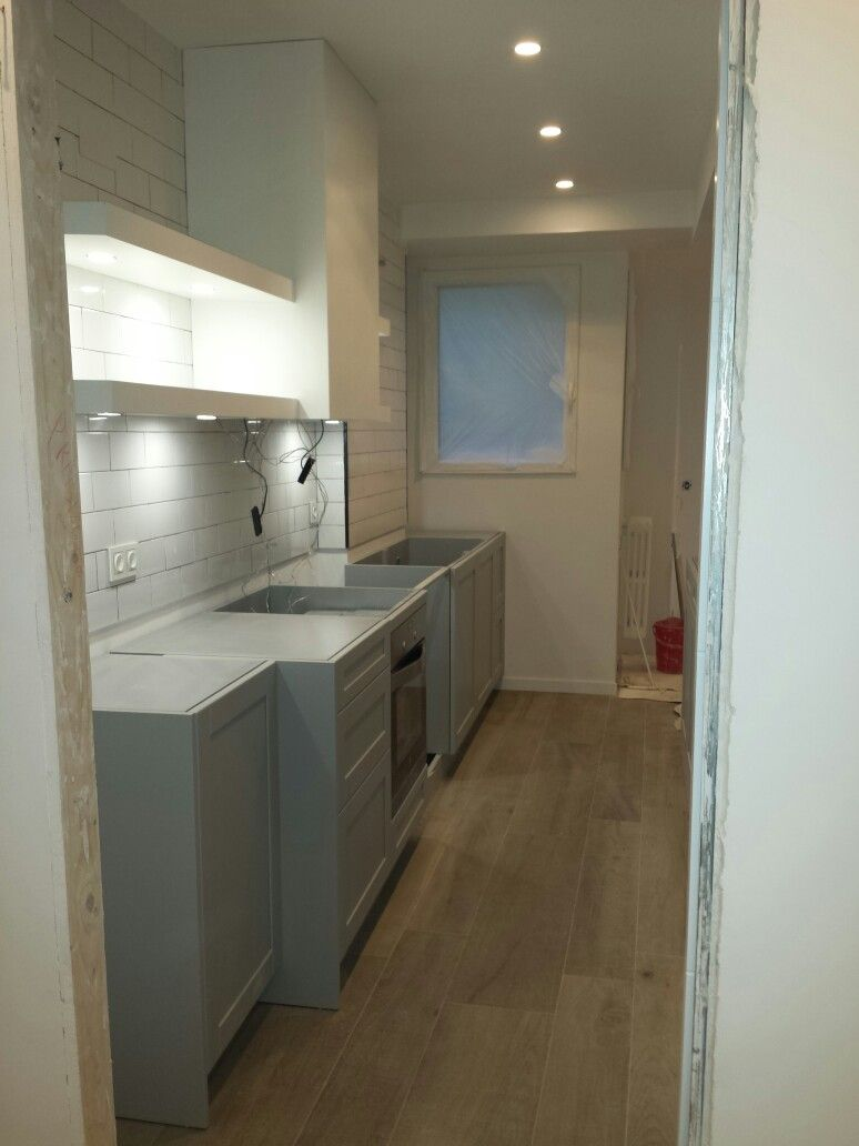 Soft Kitchen Flooring Unfinished White And Soft Blue Kitchen Subway Porcelanosa Ascot