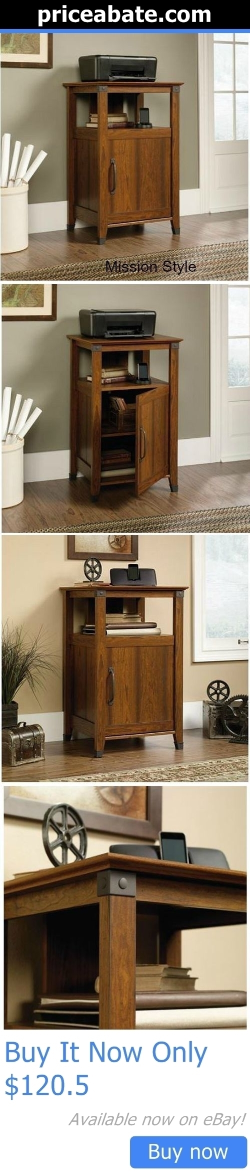 Office Furniture Mission Style Printer Stand Wood Storage Cabinet Utility Shelf It