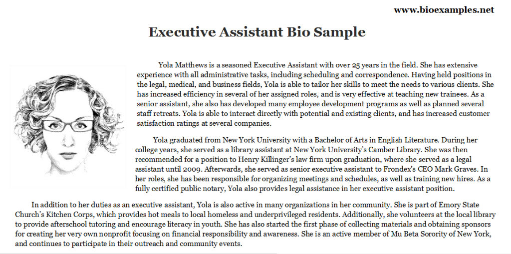 Executive Assistant Bio Esample Bio Examples Pinterest