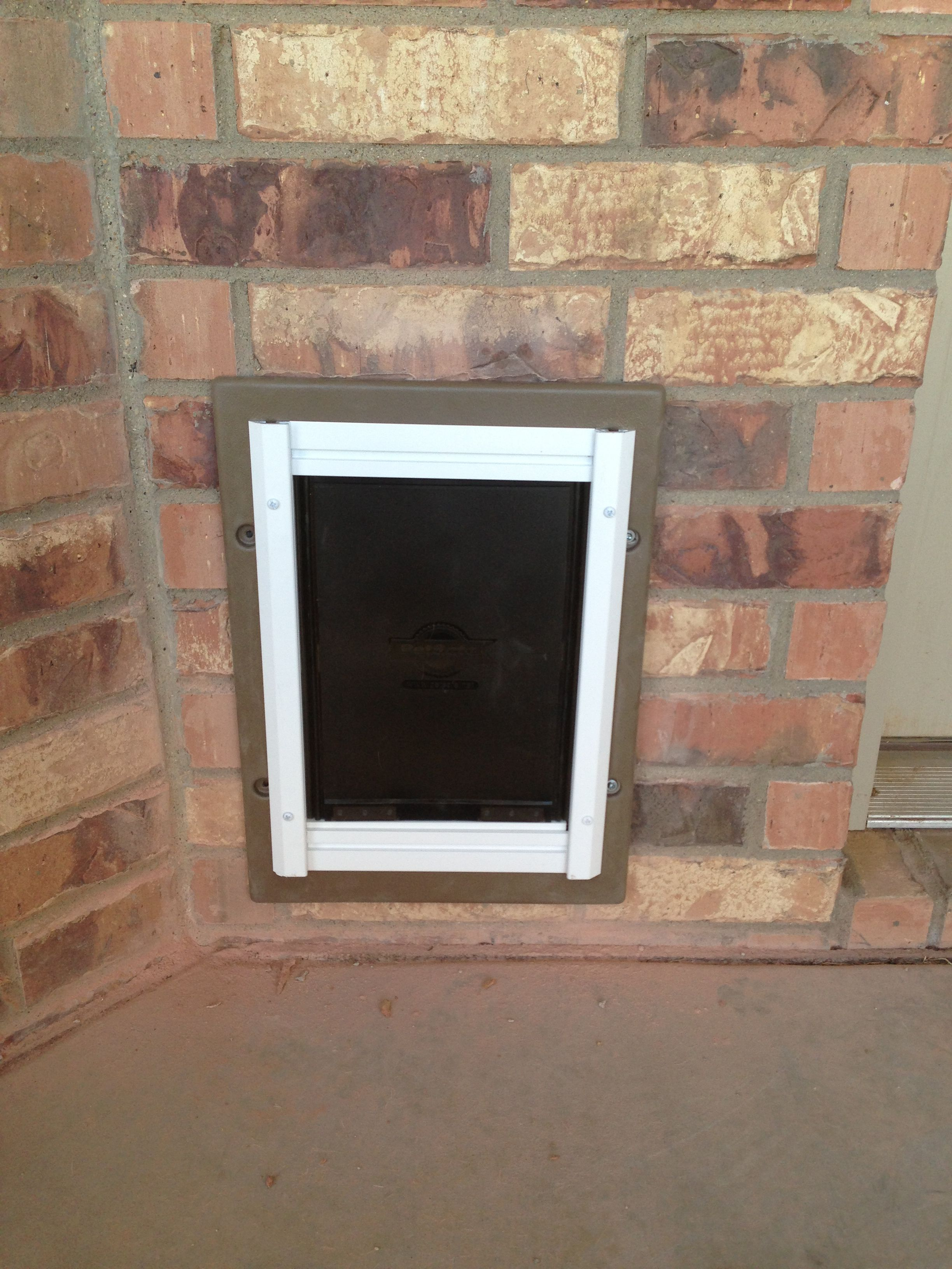 First Time Putting In A Through The Brick Wall Doggy Door For Our Pups!