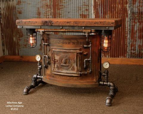 Steampunk Industrial Antique Boiler Stove Door Table