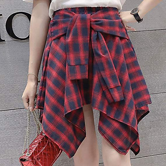 1a07f197c37a LoXTong Womens Girl Elastic Waist Plaid School Skater Mini Skirt Causal  Knot Front Dress at Amazon Women s Clothing store