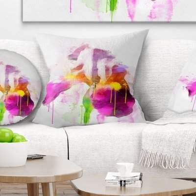 East Urban Home Floral Rose Illustration Watercolor Pillow East Urban Home