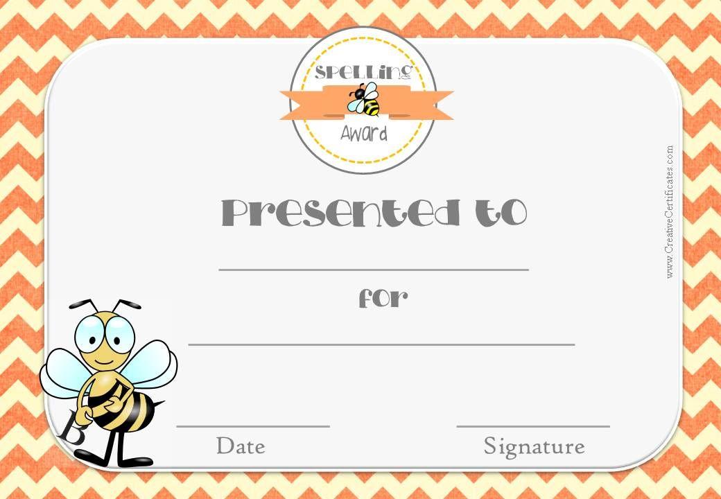 Certificate For Spelling Bee Pta Spelling Bee Pinterest