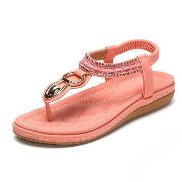 6b21d981509d Socofy metal decoration beaded bohemia elastic clip toe casual sandals  ellie d sandals – Best Fashion Woman