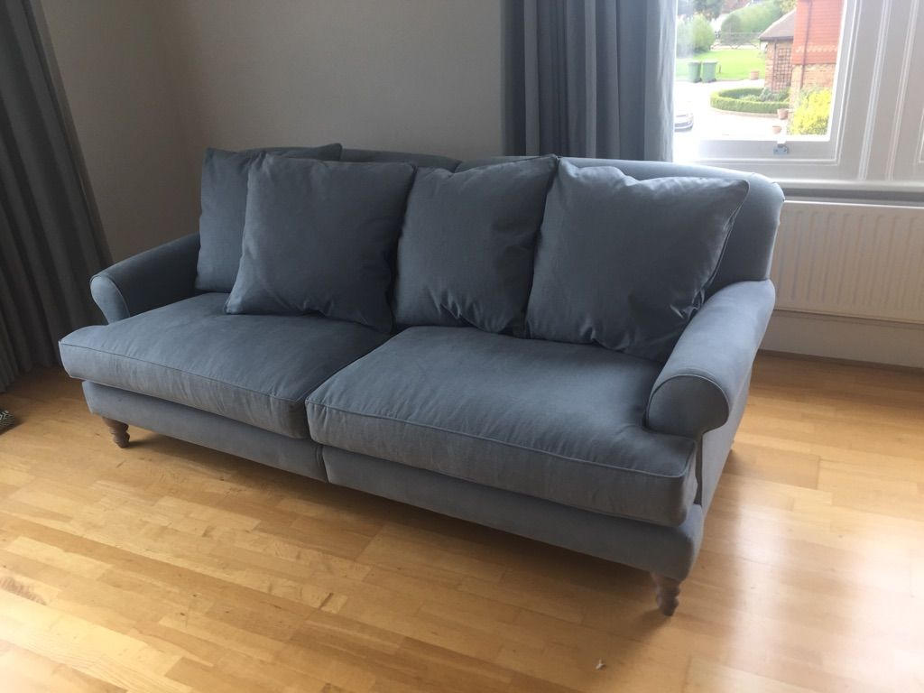Bespoke Bridgeford Sofa 220 Cm Wide Split In Two For Difficult Access Delivery And Bolted Together Situ Self Piped With 4 X Large Ter Feather