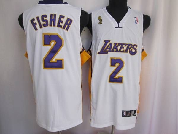 57d285c60 Lakers  2 Derek Fisher Embroidered White Champion Patch NBA Jersey! Only   20.50USD