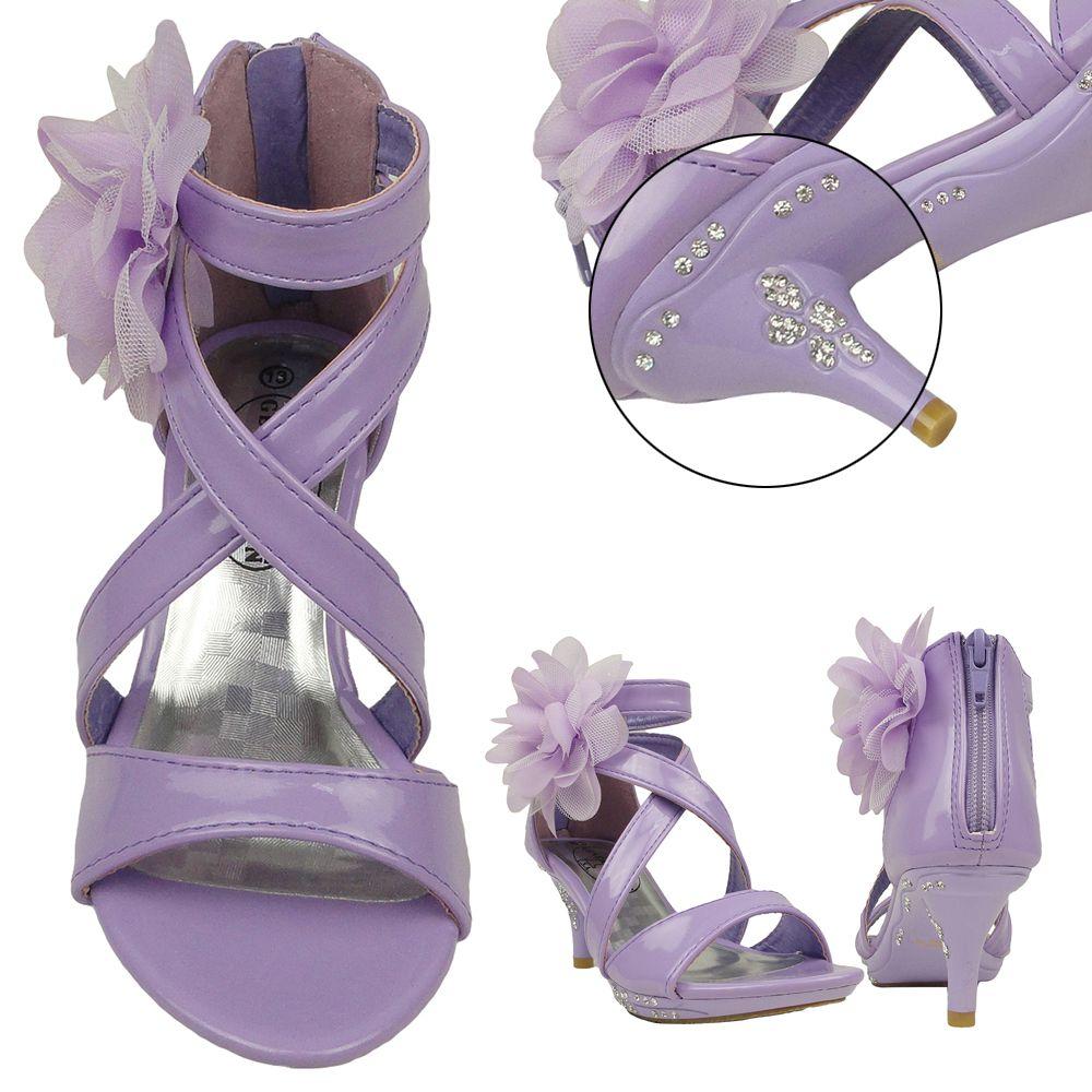 bbe3ae1e2552 Girls Dress Sandals Strappy Rhinestones High Heel Flower Lilac Youth Kids
