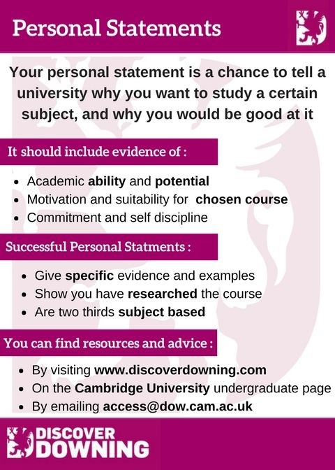 Personal Statement Guide - Downing College, University of Cambridge