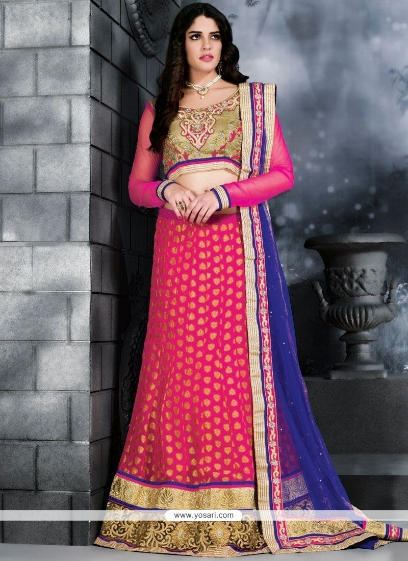 a17b6d0e16 Hot Pink Lace Work Lehenga Choli | Designer Lehenga Choli | Pink ...