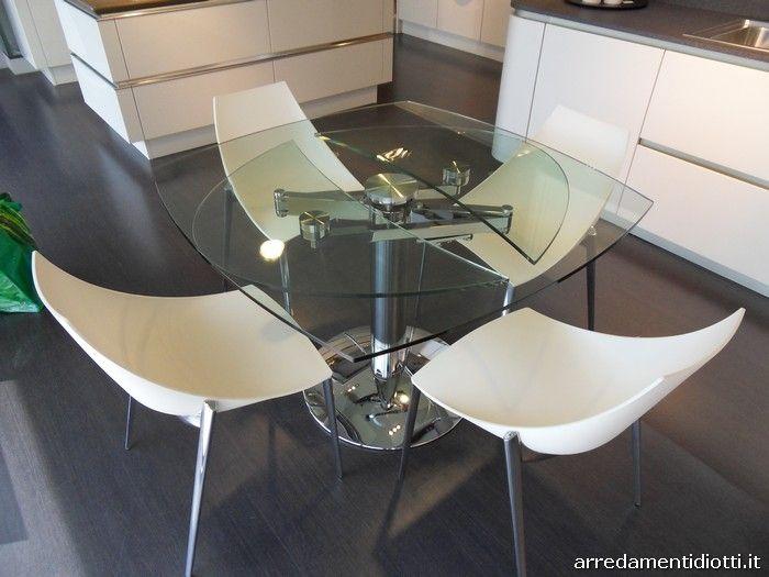 Tavolo allungabile lotus con meccanismo a vista e sedie - Tavolo con sedie offerte ...