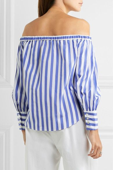 3d54d4171a6 J.Crew - Thomas Mason Mickey Off-the-shoulder Striped Cotton-poplin Blouse  - Blue