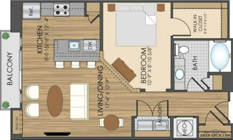 تصاميم شقق استوديو بسيطة ورائعه Arab Arch Dream House House Floor Plans