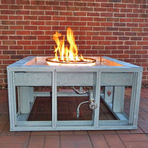 Ft 42 Sq Fire Pit Frame Manual Gas Burner Fire Pit Frame Square Fire Pit Fire Pit Backyard