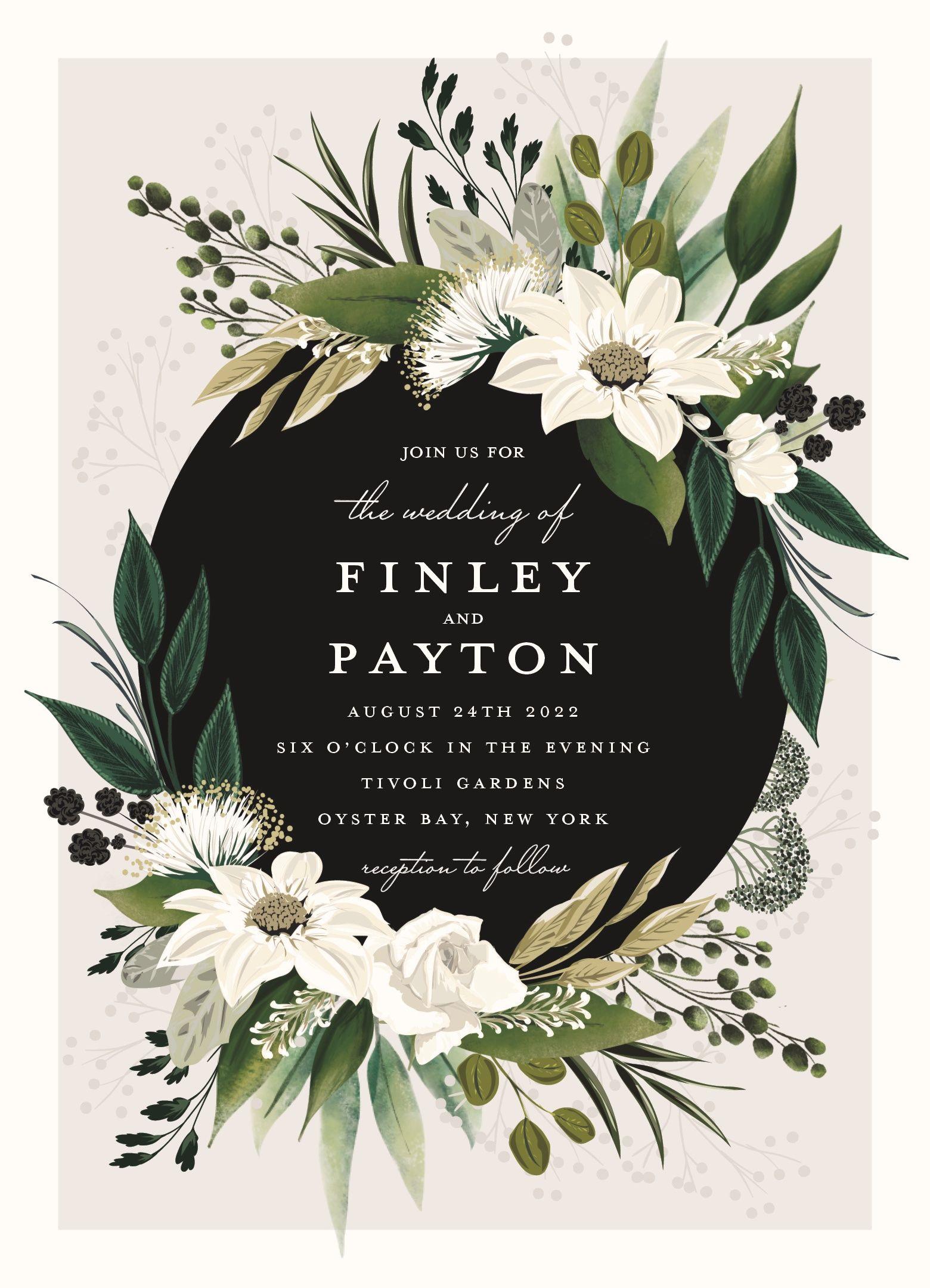 Botanical Ring Customizable wedding invitations, Minted