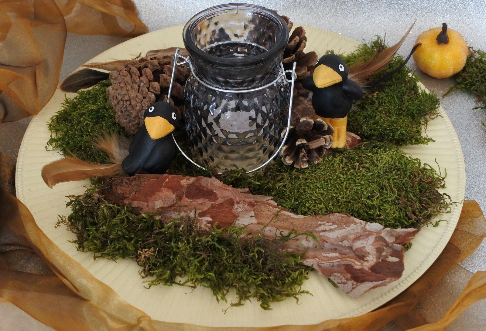 Herbst Dekoration Gesteck Herbstdeko Tischdeko Teller Kerze Rabe