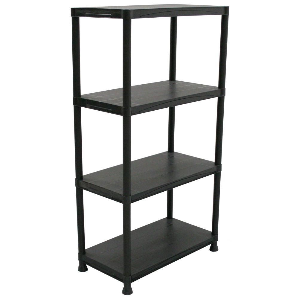 Hdx 4 Shelf 15 In D X 28 In W X 52 In H Black Plastic Storage