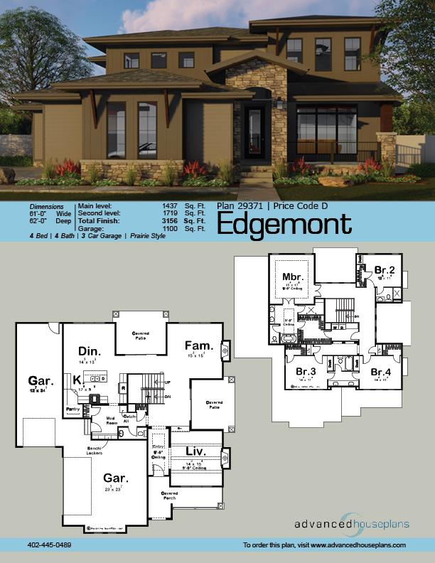 2 Story Prairie Style House Plan Edgemont Prairie Style Houses Prairie Style Architecture House Plans