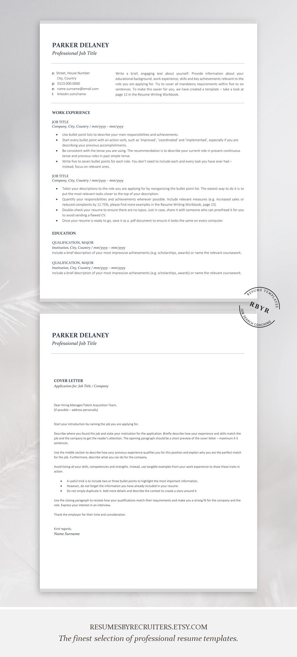 Professional resume template for finance instant download