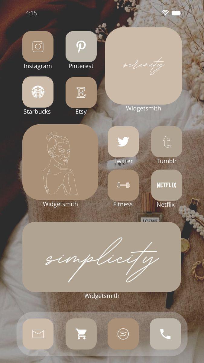 Walnut aesthetic ios 14 icons, beige boho ios 14 app icons iphone widget background neutral brown. iOS 14 Beige Aesthetic 1200 App Icons Pack ...