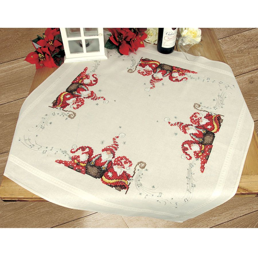 Reindeer and Gnome Tablecloth Stamped Cross Stitch Kit - Cross ...