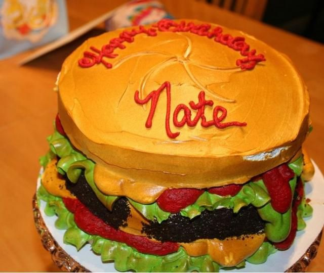 Cool burger cake Hubby my furture bday cakes Pinterest