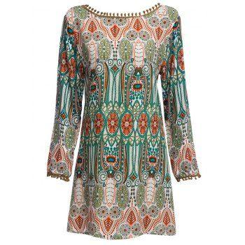 Ethnic style round collar dress