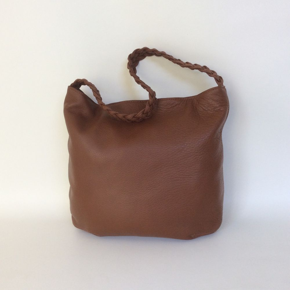 5926a7efac7d7 Details about Brown Tan Leather Bag With Braided Handle, Shoulder ...