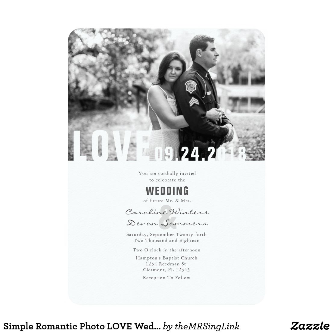 Simple Romantic Photo LOVE Wedding Invitation