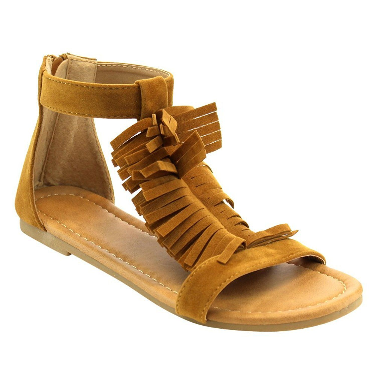 260685625367 I LOVE KIDS Girl s Back Zipper Fringe T-strap Flat Gladiator Ankle Sandals    Special product just for you. See it now!