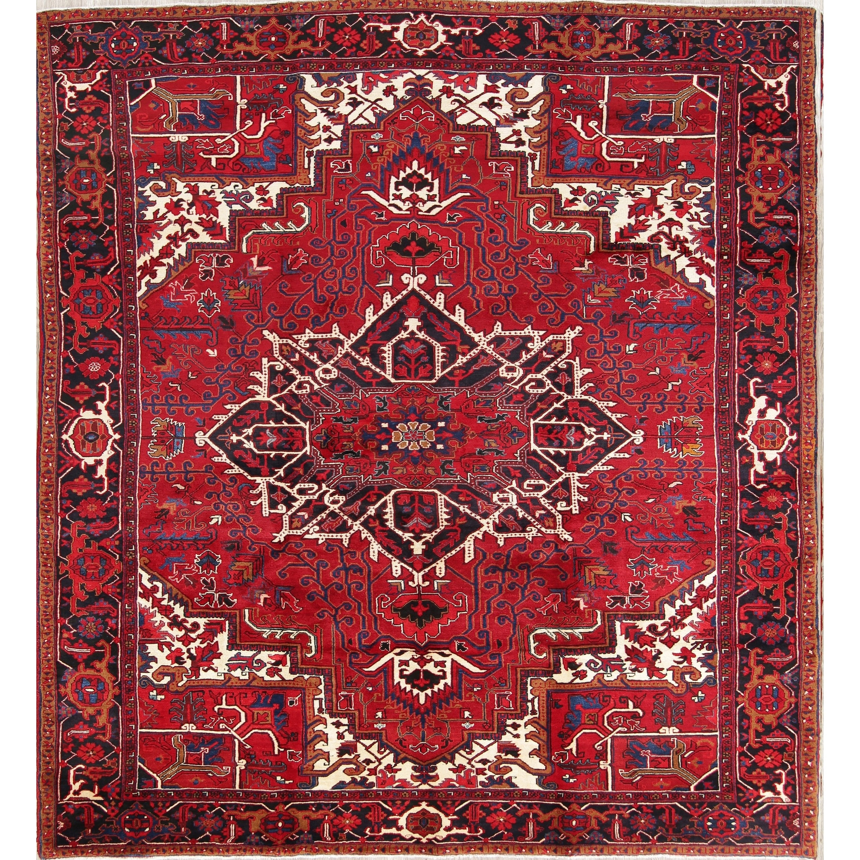 Refurbished Vintage Hand Made Wool Oriental Heriz Persian Carpet Area Rug 12 7 X 9 7 12 7 X 9 7 Red In 2020 Carpets Area Rugs Persian Carpet Patterned Carpet