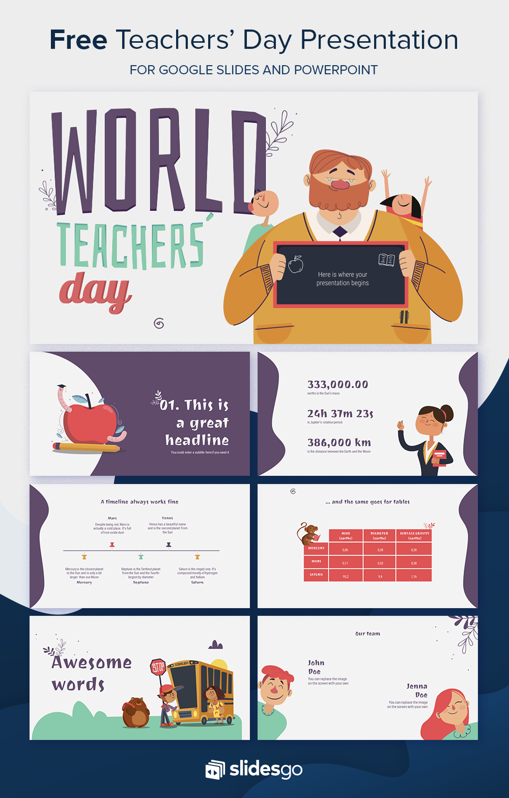 Free World Teachers Day Presentation Powerpoint Background Design Teachers Day Powerpoint Design Templates