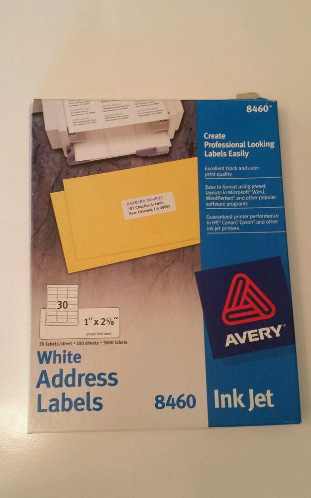 avery 8460 white address labels inkjet 1 x2 5 8 1950 labels 65