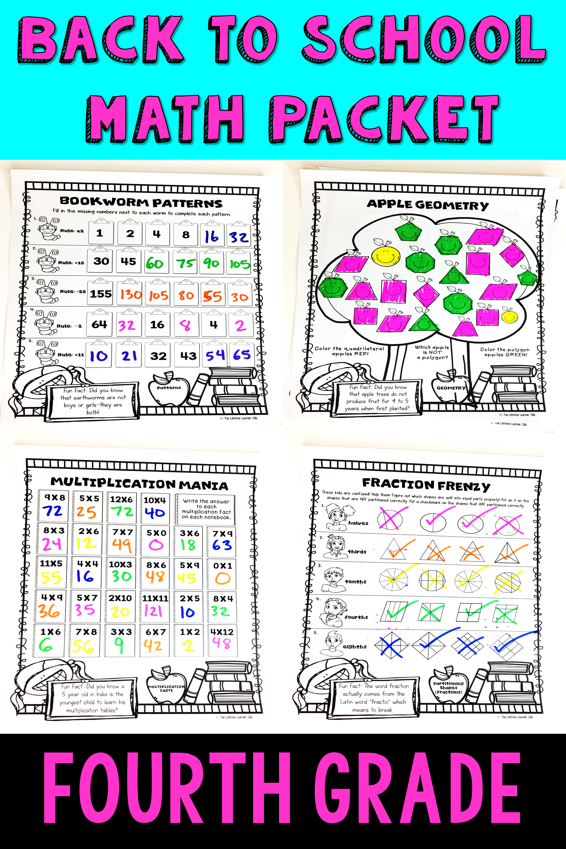 4th Grade Back To School Math Packet