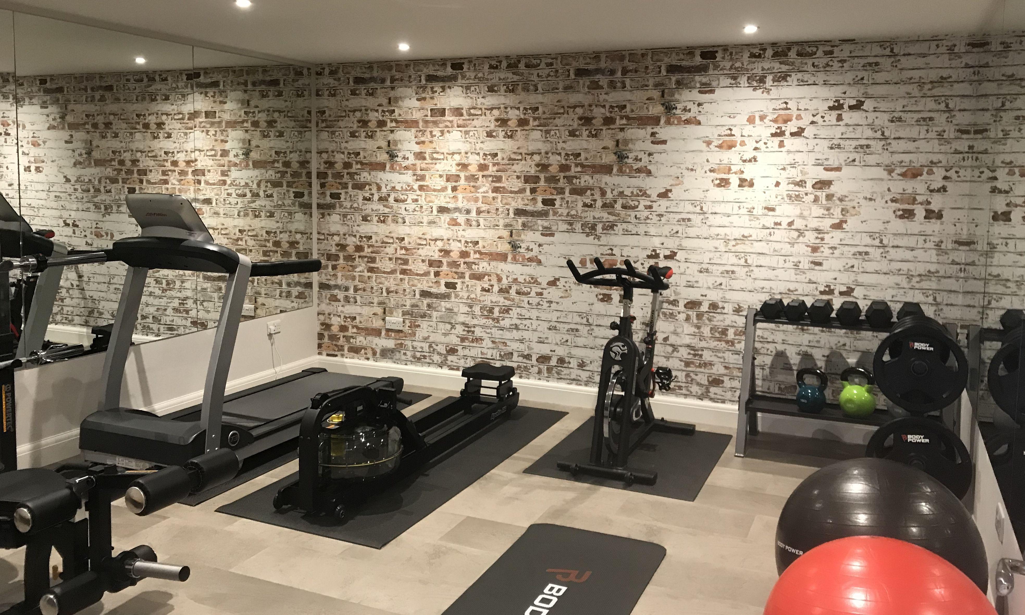 White Painted Brick Wallpaper Mural | Murals Wallpaper -   19 fitness Room mall ideas