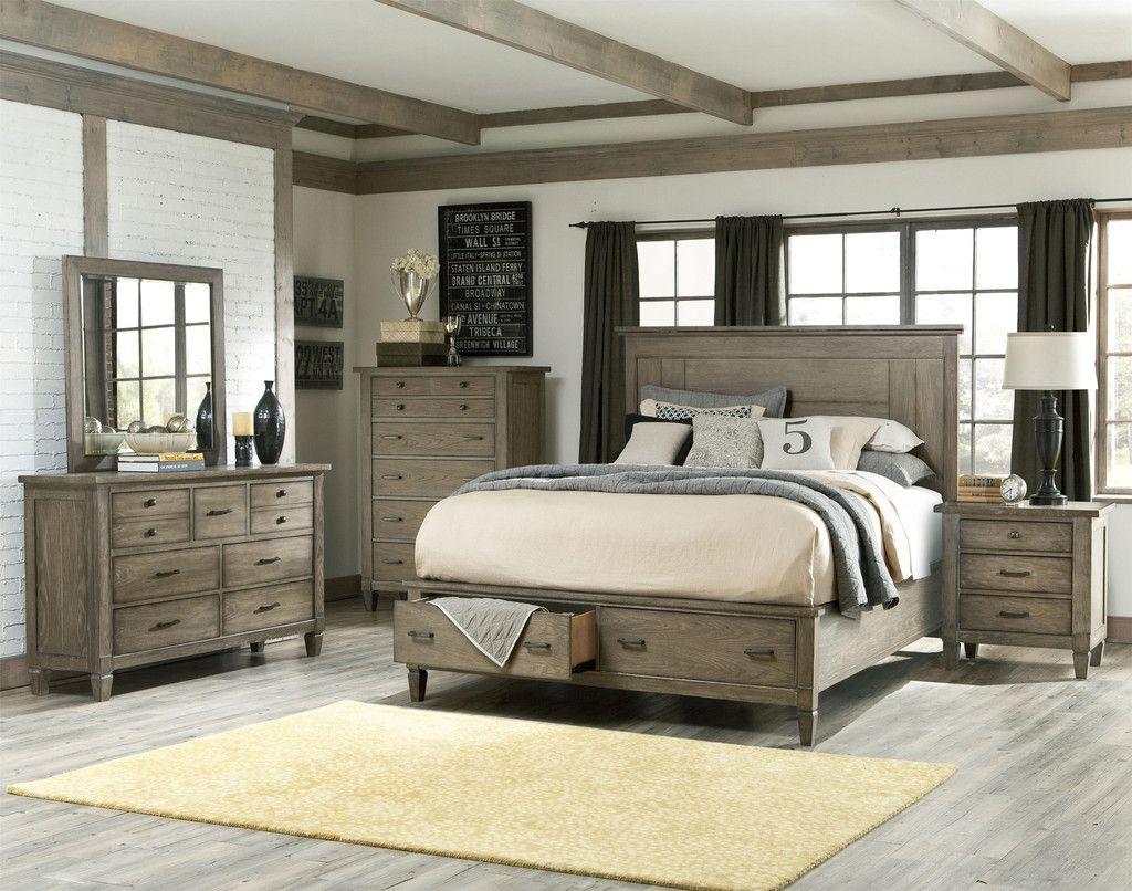 Brownstone 3Pc Bedroom Set Bed Mirror & Dresser  Kensington Beauteous Bedroom Sets With Storage Design Decoration