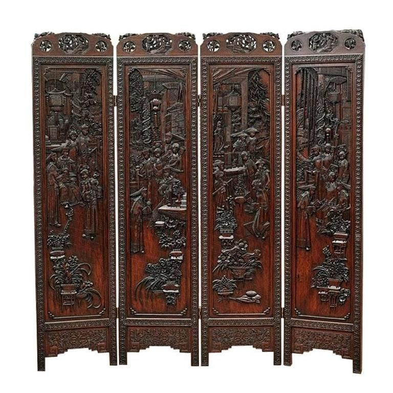 Chinese Highly Carved Wood Four Panel Screen Divider In 2020 Wood Room Divider Carved Furniture Asian Furniture