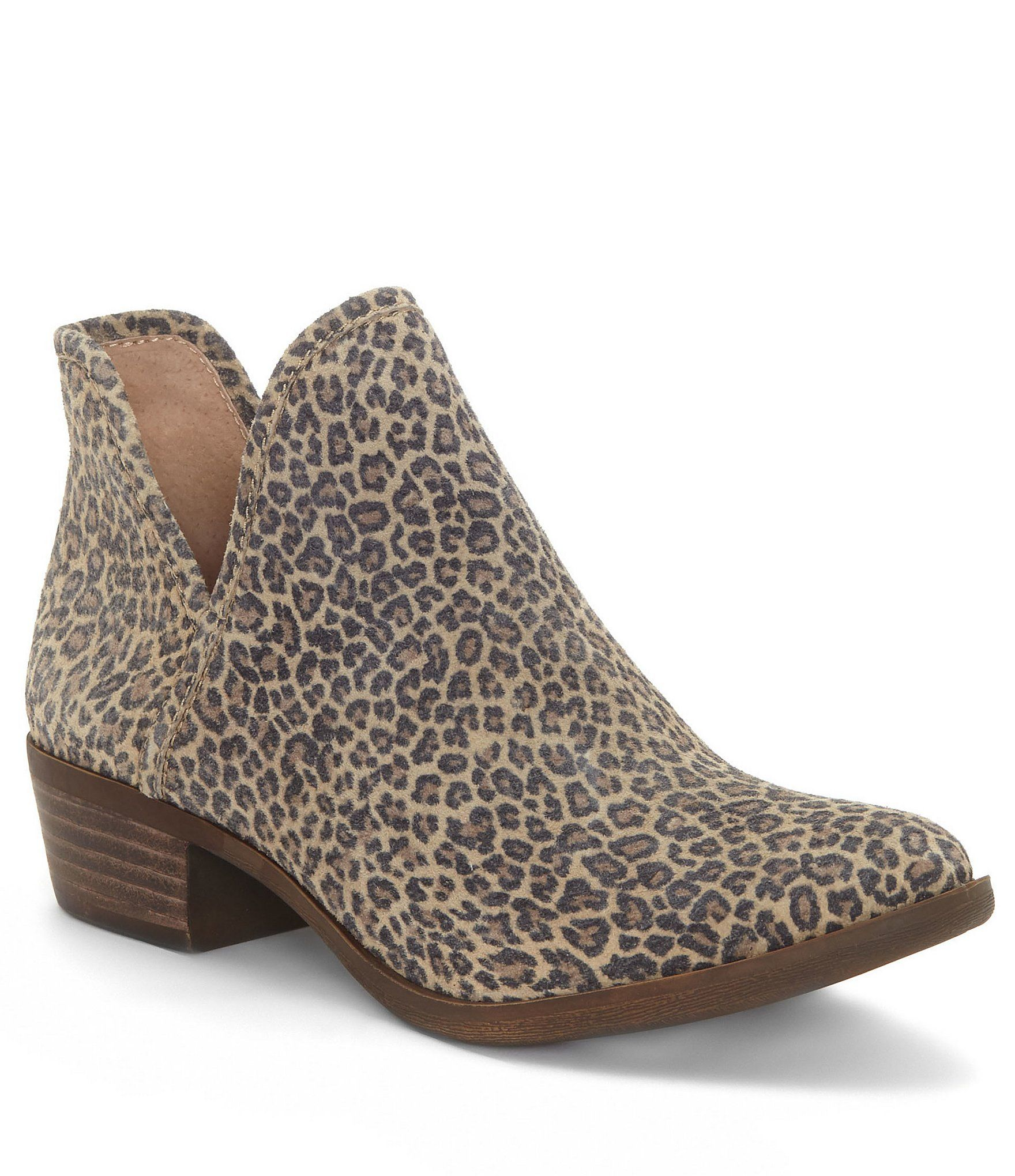 Lucky Brand Bashina2 Leopard Print Block Heel Booties | Dillards