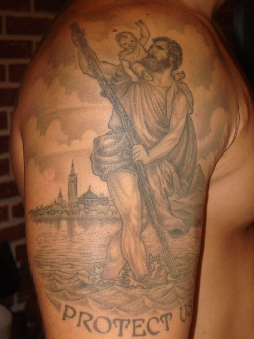 1194f4887 St. Christopher | Tattoos | Tattoos, St christopher tattoo, Shoulder ...