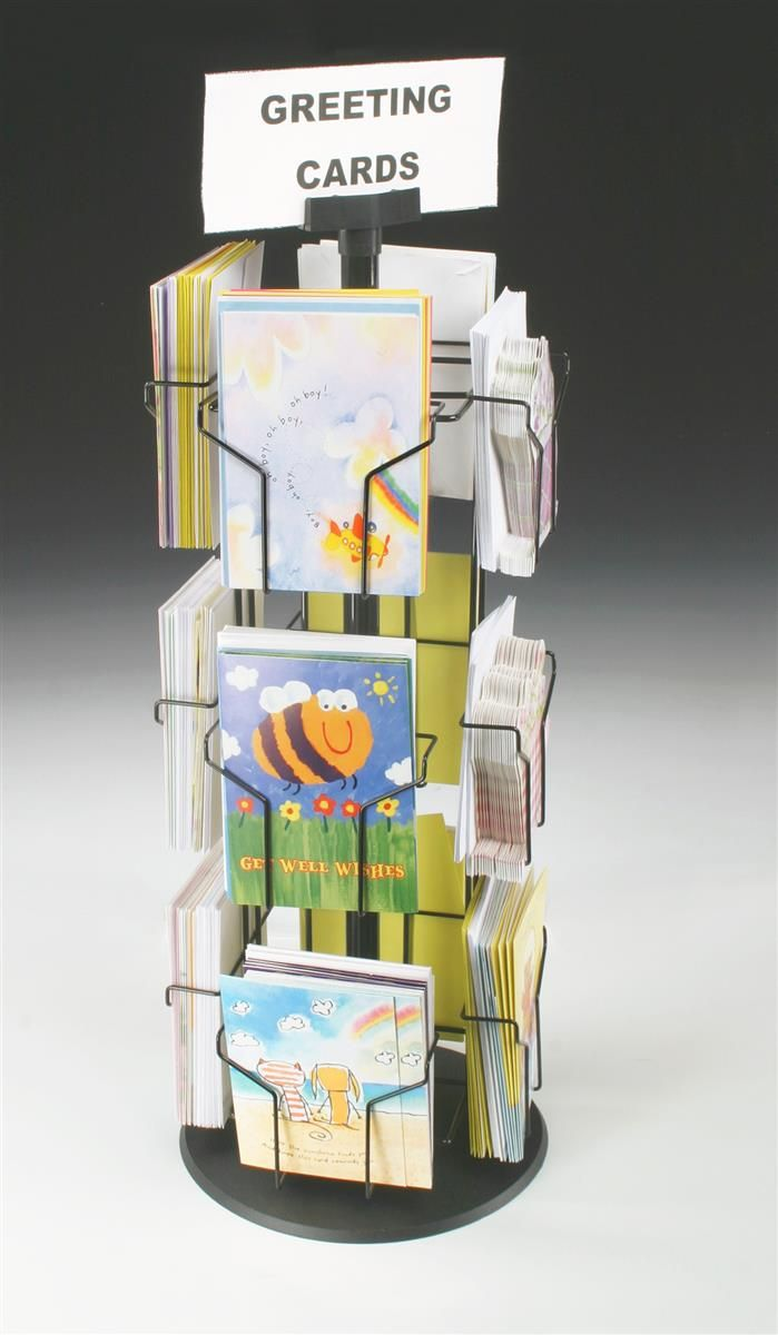 Rotating greeting card display w sign clip countertop 12 pockets greeting card rack with 5 x 7 pockets for countertop tall wire display stand black wire construction with plastic base and sign holder kristyandbryce Images