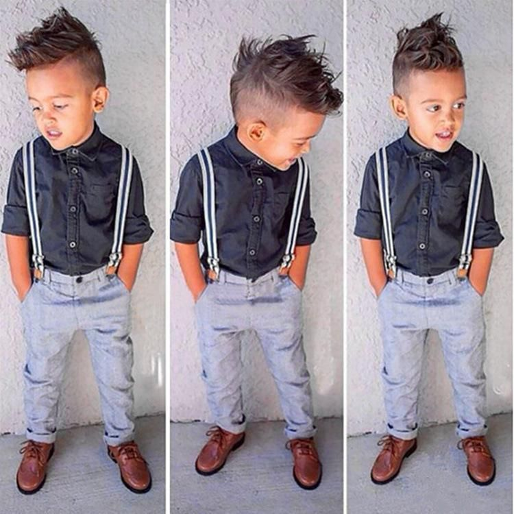 12beb702d06f New Gentleman Baby Boy T-shirt+Suspender Trousers Overall Suits for ...