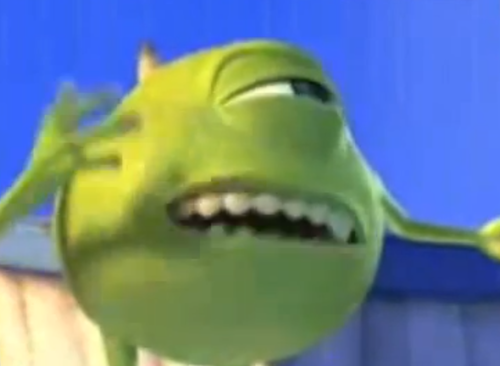 A Collection Of Blurred Pictures Of Mike Wazowski Meme Faces Stupid Memes Cartoon Memes