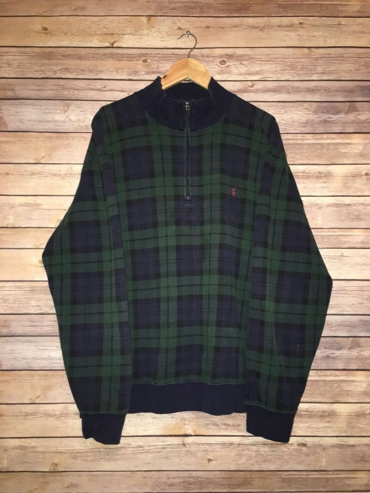 458d572dc Polo by Ralph Lauren Quarter Zip Green and Blue Plaid Sweater Sweatshirt  Size XL