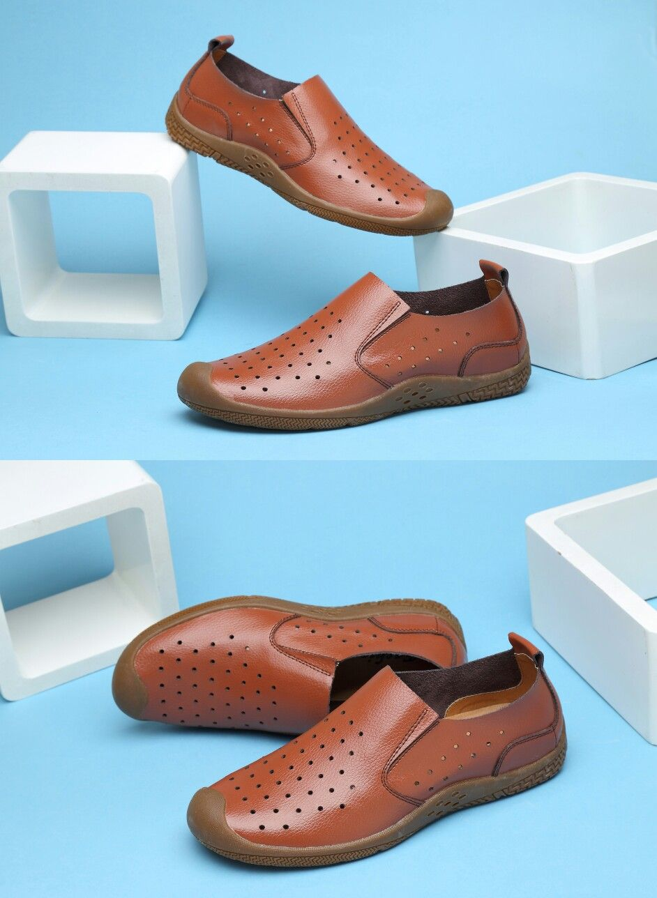 1885ad5599 Amazon Men s Casual Leather Shoes Summer Breathable Shoes Walking Slip On  Loafers