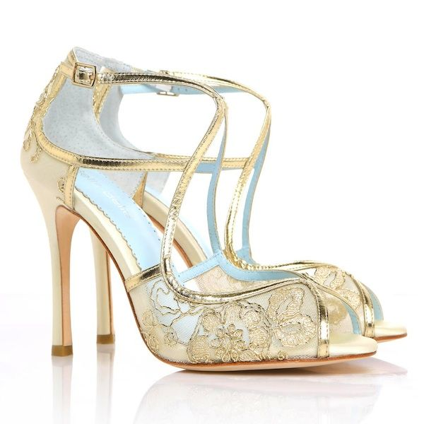 eff9945b7d44 Tess Gold Lace Wedding Shoes ~ Bella Belle Wedding Shoes. Deco Glamour with  contemporary styling. Gold lace adds stunning elegance to ivory silk bridal  ...
