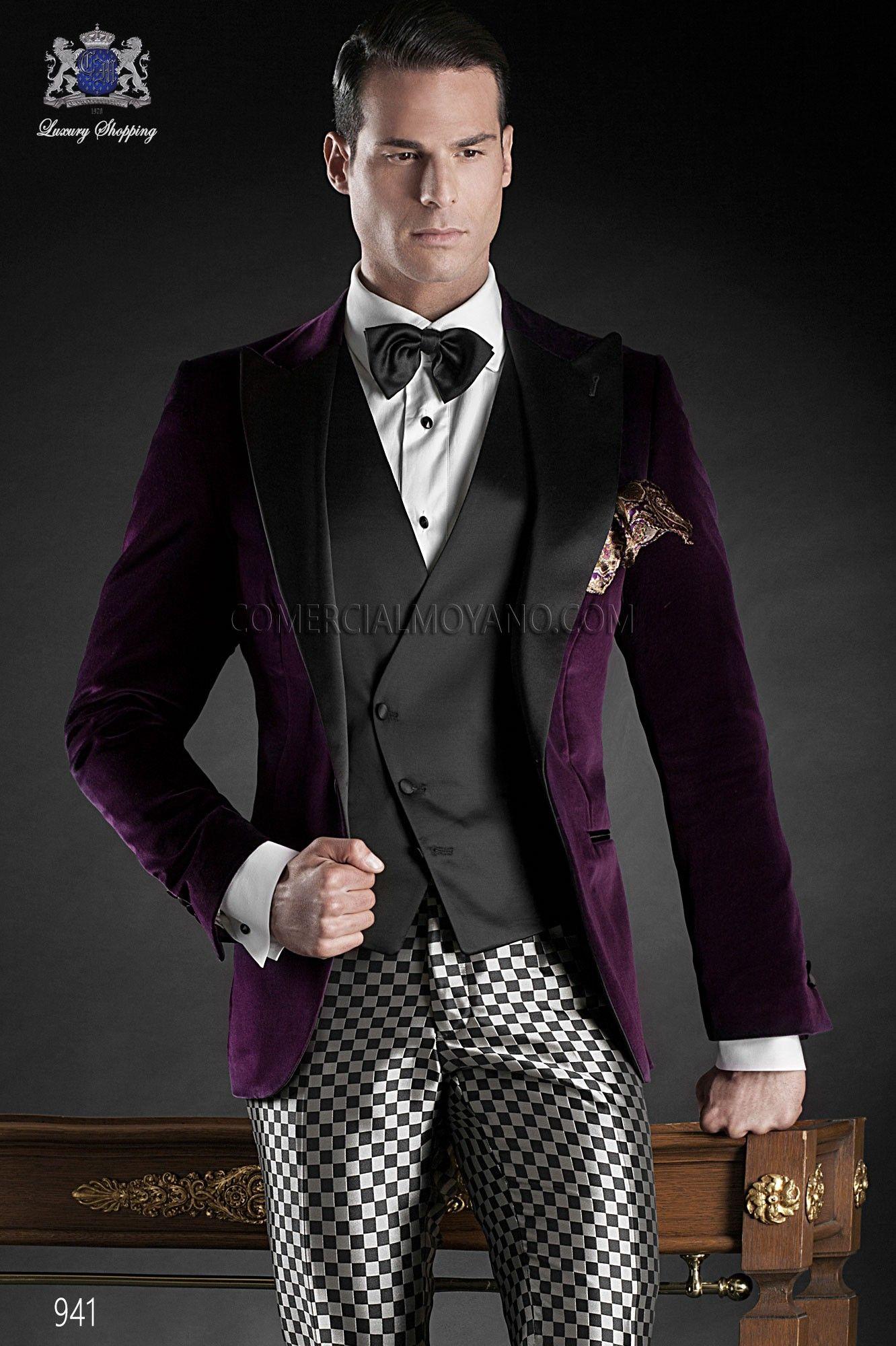 Italian Bespoke Suit Purple Cotton Velvet Tuxedo Jacket With Black Satin Peak Lapel And One Button Closure Coordinated Fashion Square Trousers